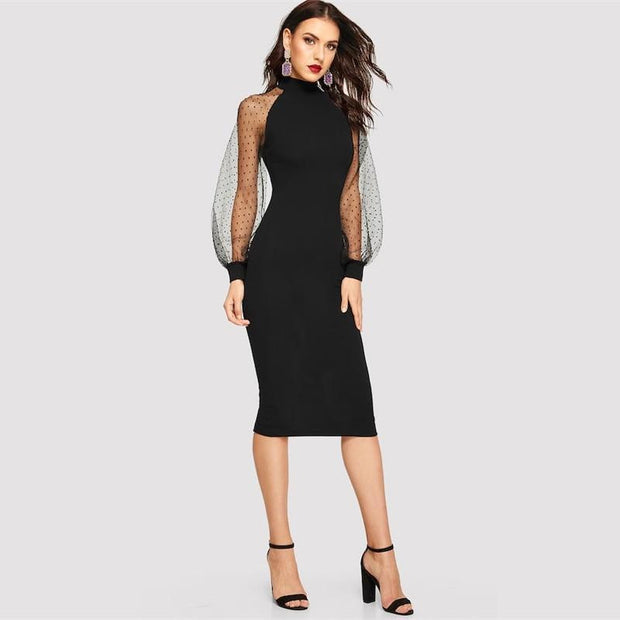 Jacquard Contrast Pencil Bodycon Dress - OutFancy