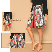 EXPRESSION Scarf Print Skirt - OutFancy