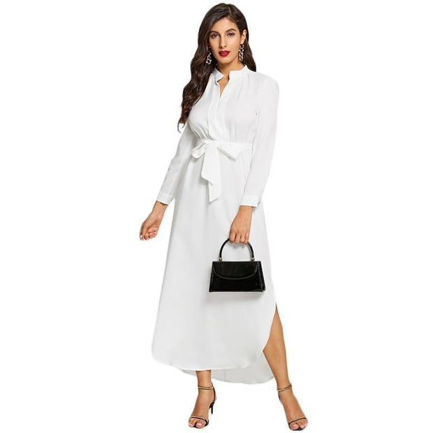 OutFancy White Minimalist V Neck Belted Dress - outfancy