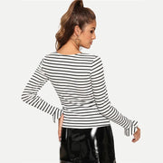 WINNING EVERYDAY Ruffle Square Neck Shirt - OutFancy