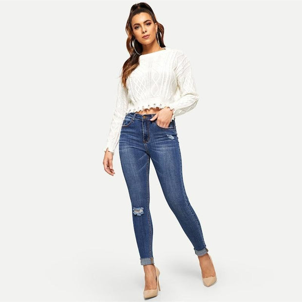 TOUGH LUCK Navy Rolled Knee Jeans
