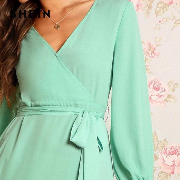 A Lovely Wrap Belted Party Dress - OutFancy