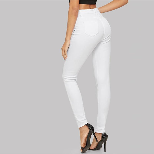 SHALLOW HEART White Ripped Jeans