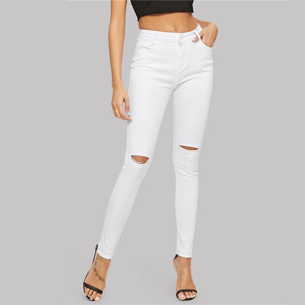 SHALLOW HEART White Ripped Jeans - OutFancy