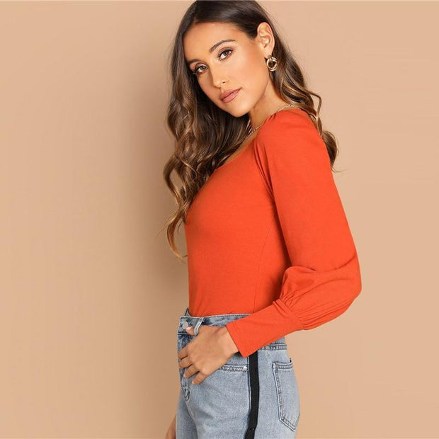 Orange Scoop Neck Leg-Of-Mutton Sleeve T-Shirt - OutFancy