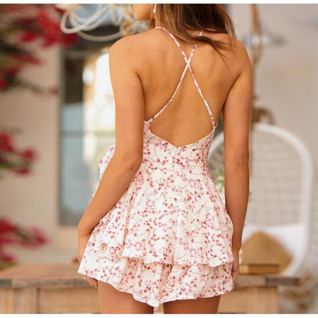 NLW Print Spaghetti Strap Bow Ruffles Chiffon Summer Women Playsuits Backless Beach Sexy Romper Bohemian Playsuit Rompers 2019 - OutFancy