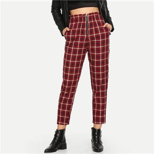 PUT IN THE WORK Plaid Pants - OutFancy