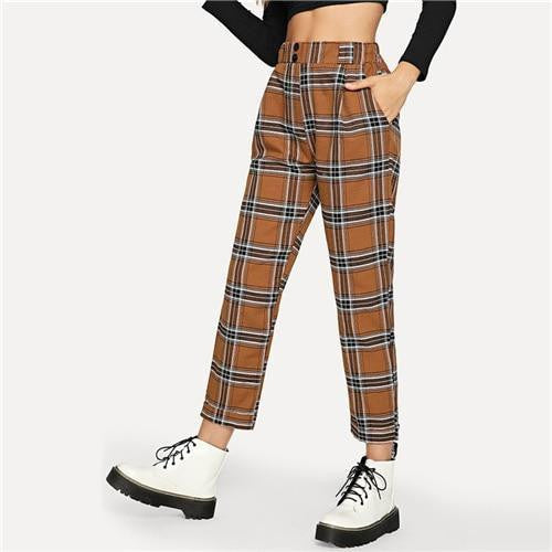 DOUBLE DARE Plaid Pants - OutFancy