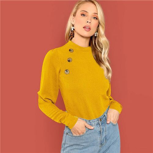 SOFT KISSES  Buttoned Leg-Of-Mutton Sleeve Top - outfancy