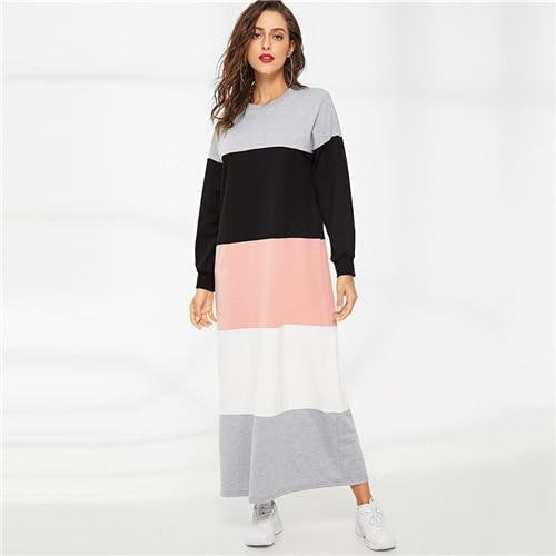 Vintage Color Block Sweatshirt Maxi Dress - OutFancy