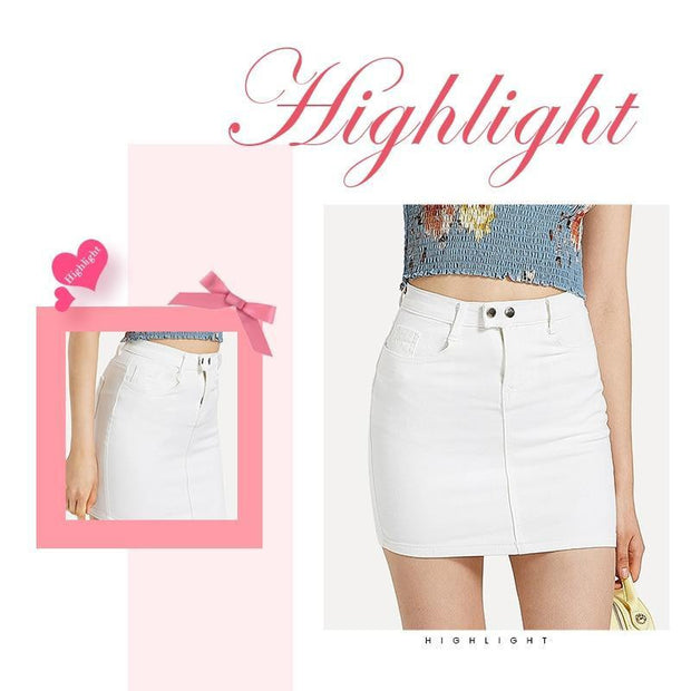 ROMANTIC MOOD  White Denim Skirt - OutFancy