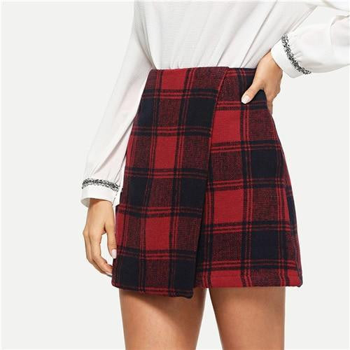 NOT GONNA CHASE YOU Plaid Wrap Skirt - OutFancy