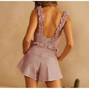 NLW 2019 Light Pink Ruffles Rompers Women Summer Famale Playsuit Girls Beach Sexy Short Jumpsuit Romper - OutFancy