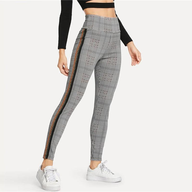 BETTER DAYS Tape Plaid Leggings - OutFancy