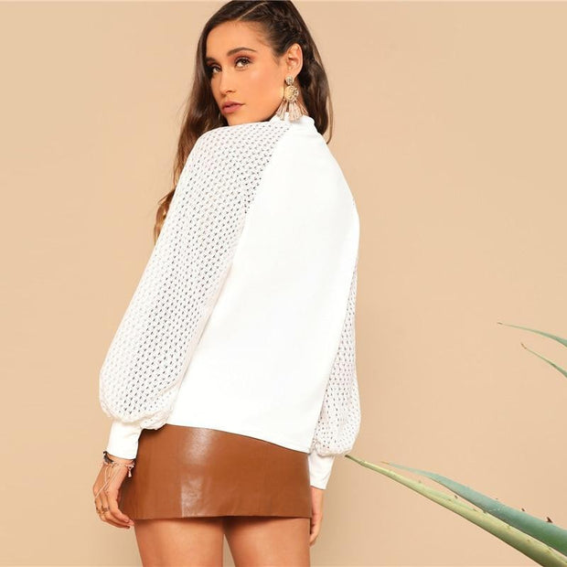 TREAT ME POLITELY White Eyelet Bishop Raglan Sleeve Top - OutFancy