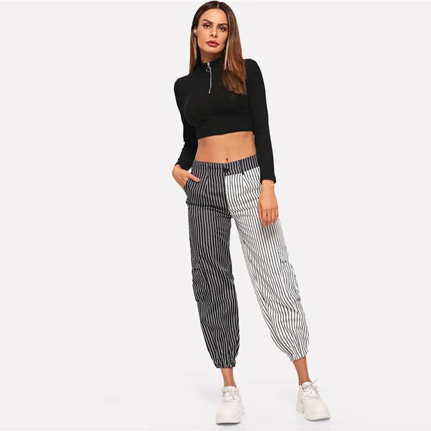 LATE NIGHT TEXTS Striped Pants - OutFancy
