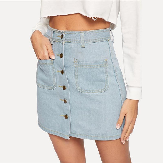 TRULY ME Blue Denim Skirt - OutFancy
