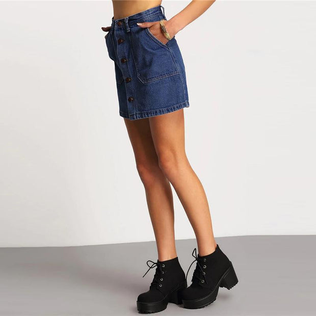 NEVERMIND Buttoned Denim Skirt - OutFancy