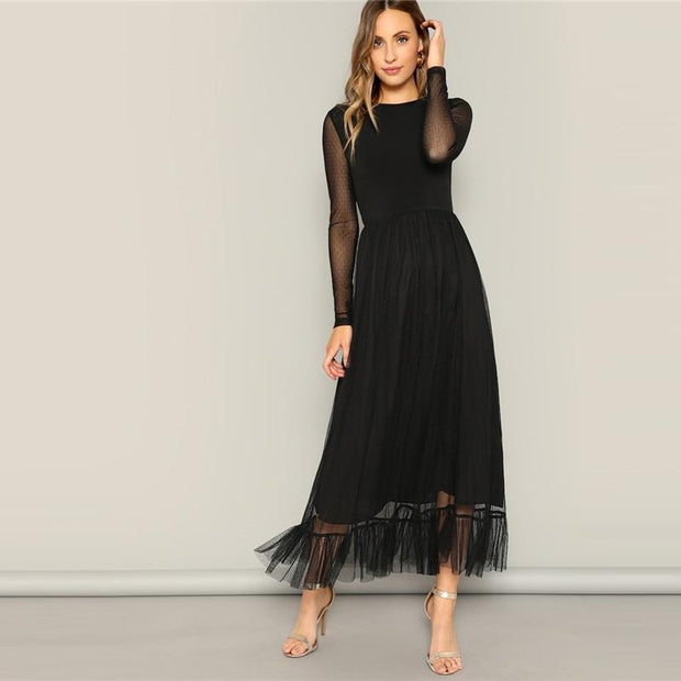 Stylish Mesh Overlay Ruffle Hem Dress - outfancy