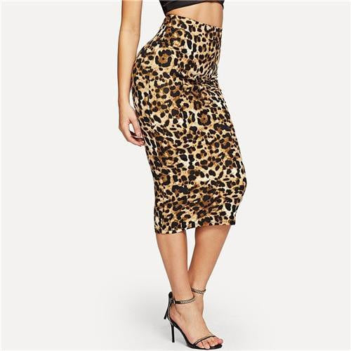 PRETTY WILD THING Leopard Bodycon Skirt - outfancy