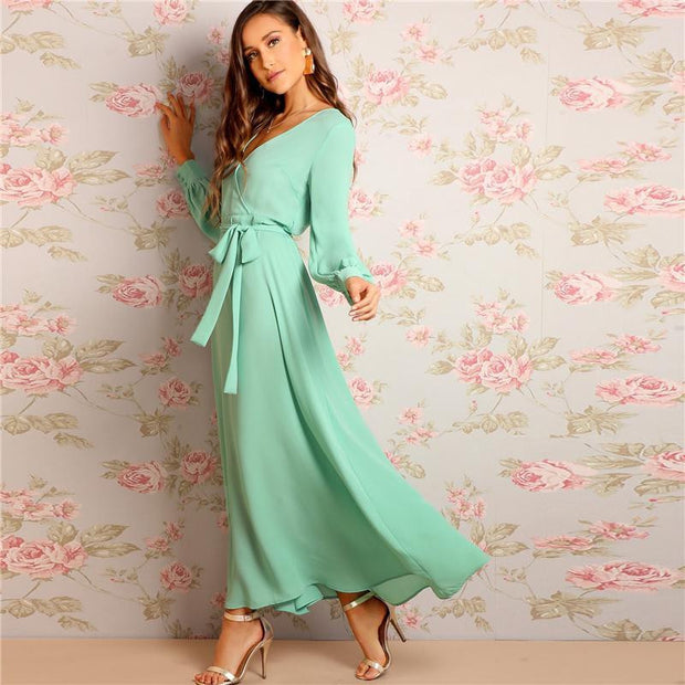 OutFancy Green Romantic Bishop Sleeve Maxi Dress - outfancy