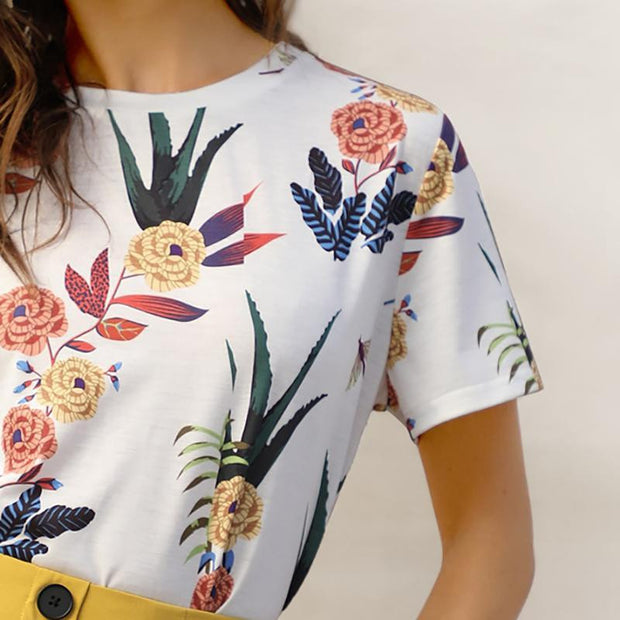 CASUAL LOVER White Floral T-Shirt - OutFancy