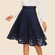 WHERE'S MY RING Navy Midi Skirt - OutFancy