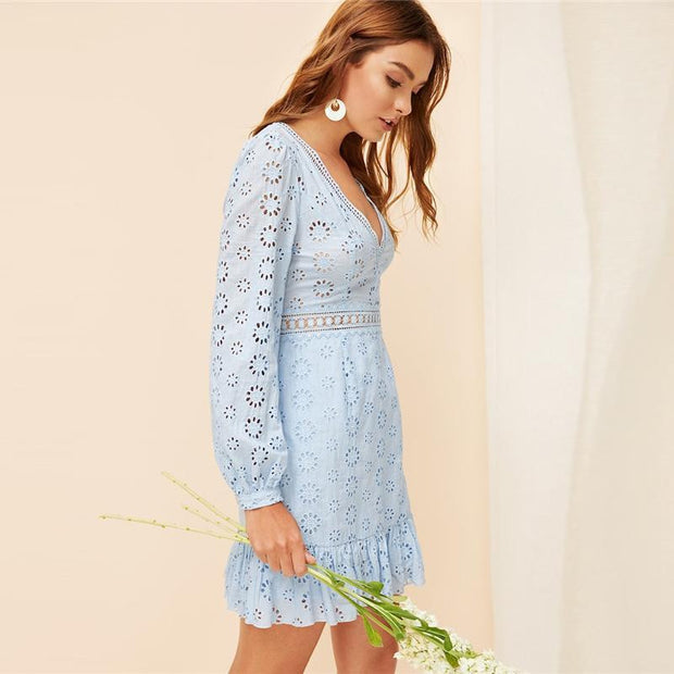 Floral Embroidered Lace Eyelet Dress - OutFancy