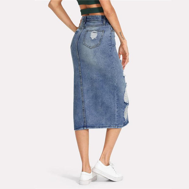 NO STRINGS ATTACHED Denim Skirt - OutFancy
