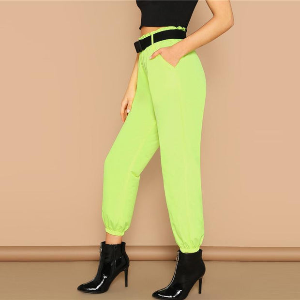 BE LIKE ME Neon Lime Pants - OutFancy