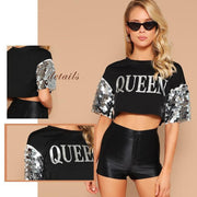 ON MY TIME Contrast Sequin Crop Tee - OutFancy