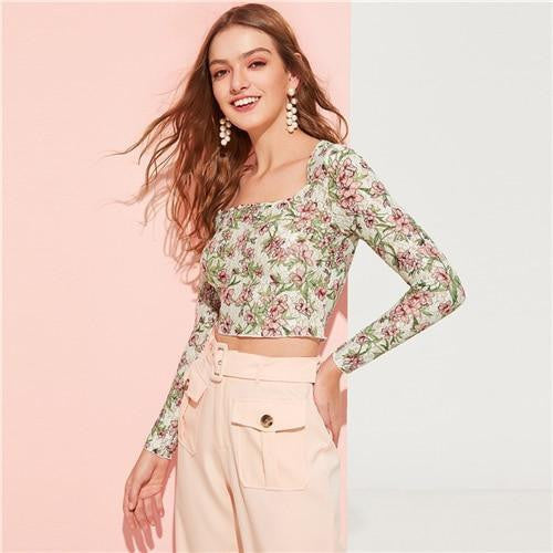 ELEGANT BEAUTY Botanical Print Crop Fitted Top - OutFancy