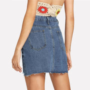 MEET ME IN THE Ripped Denim Skirt - OutFancy