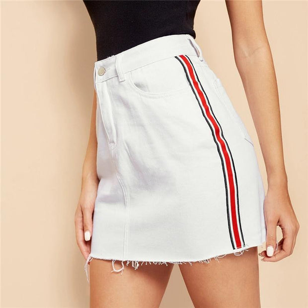 DONE BETTER Stripe Tape Denim Skirt - OutFancy