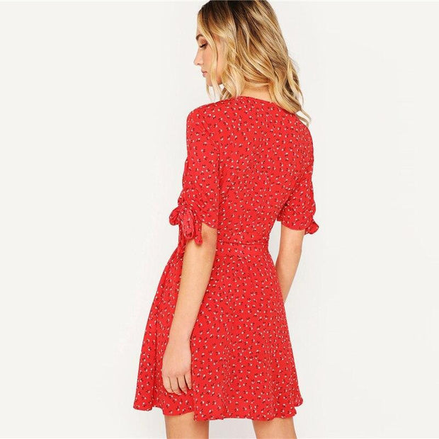 Knot Cuff Floral Belted MINI Dress - OutFancy