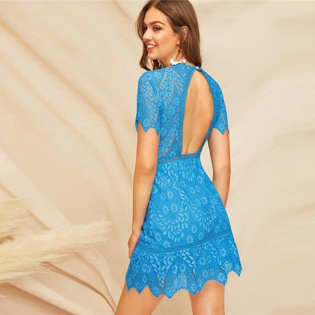Elegant Open Back Guipure Lace Dress - OutFancy