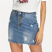 MADE YOU LOOK Ripped Denim Skirt - OutFancy
