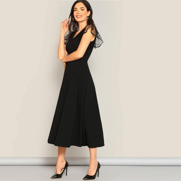 Classy V Neck  Fit And Flare Party Dress - OutFancy