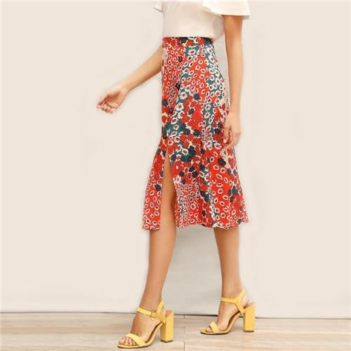 AT YOUR OWN RISK Ditsy Floral Skirt - OutFancy