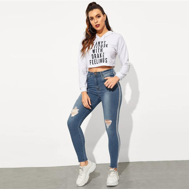 WALK THE LINE Ripped Jeans - OutFancy