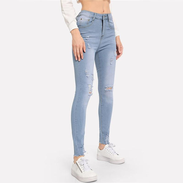 CARELESS Ripped Frayed Edge Jeans - OutFancy