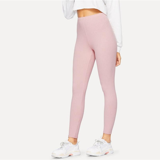 ON THE GO Ribbed Pink Leggings - OutFancy