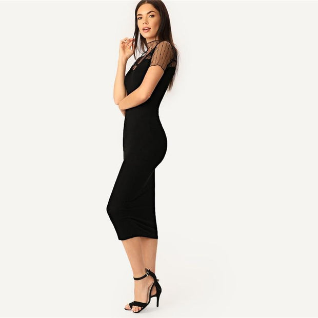 Casual Striped Bodycon Plain Dress - OutFancy