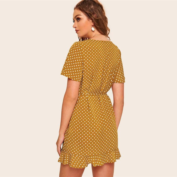 Vintage Polka Dot Ruffle Wrap MINI Dress - OutFancy