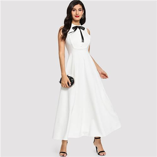 ALL CLASSED UP Bow Detail Pleated Maxi Dress - OutFancy