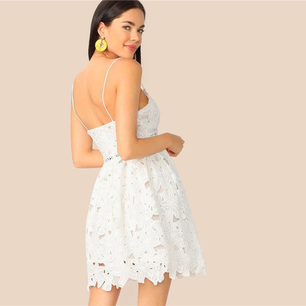 Romantic White Fit and Flare Lace Dress - outfancy