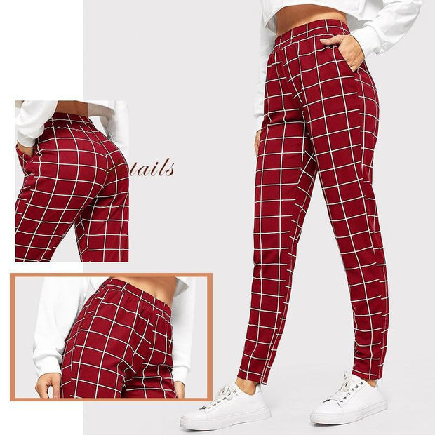 MILLION REASONS Plaid Trousers - OutFancy