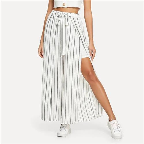 WORLD STOP Striped Split Leg Pants - OutFancy
