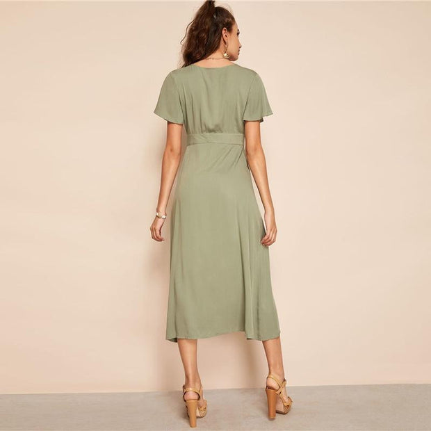 OutFancy V Neck Buttoned Butterfly-Sleeve Dress - outfancy