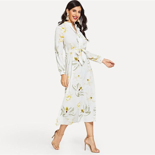 VACATION ESCAPE Floral Print Pearl Button Belted Dress - outfancy